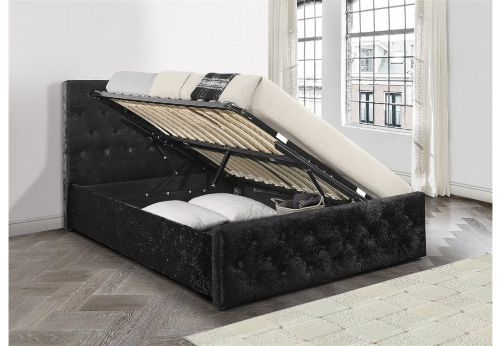 reputable site 5ac01 4ea93 135cm Finsbury Side Ottoman Bed Black Crushed Velvet