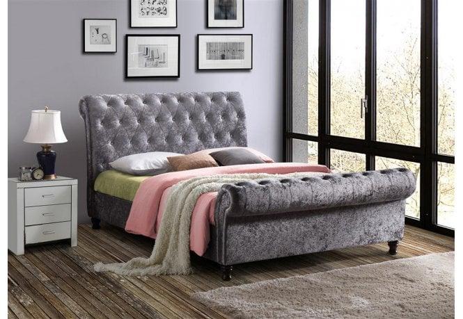 Birlea Furniture 180cm Castello Bed Steel Crushed Velvet ...