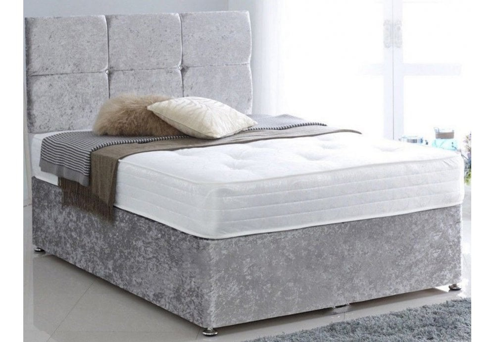 on sale fc968 90942 3FT Cube Diamante Crushed Velvet Single Bed Free Headboard and Roma Mattress