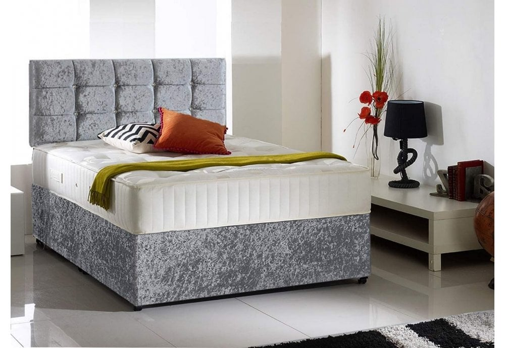 best sneakers 555af 8a0d8 3FT Soul Diamante Crushed Velvet Single Bed Free Headboard and Roma Mattress