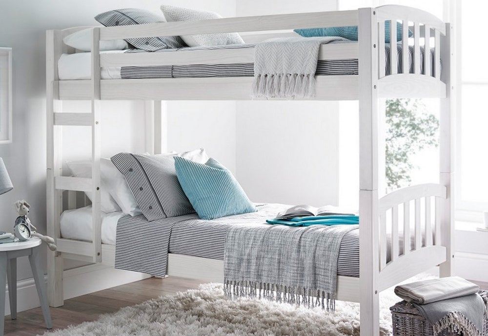 Europa America 3ft Single White Wooden Bunk Bed