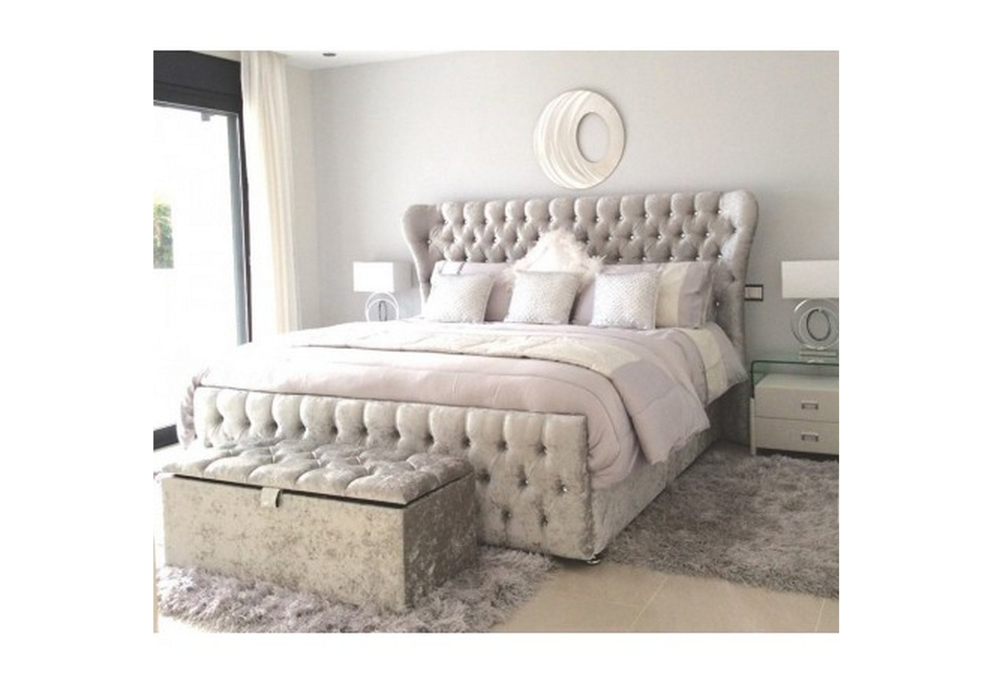 Europa Beds Europa Fly 6ft Bed Silver Crushed Velvet Bed With Winged Headboard Beds From Beds 4 Less Uk