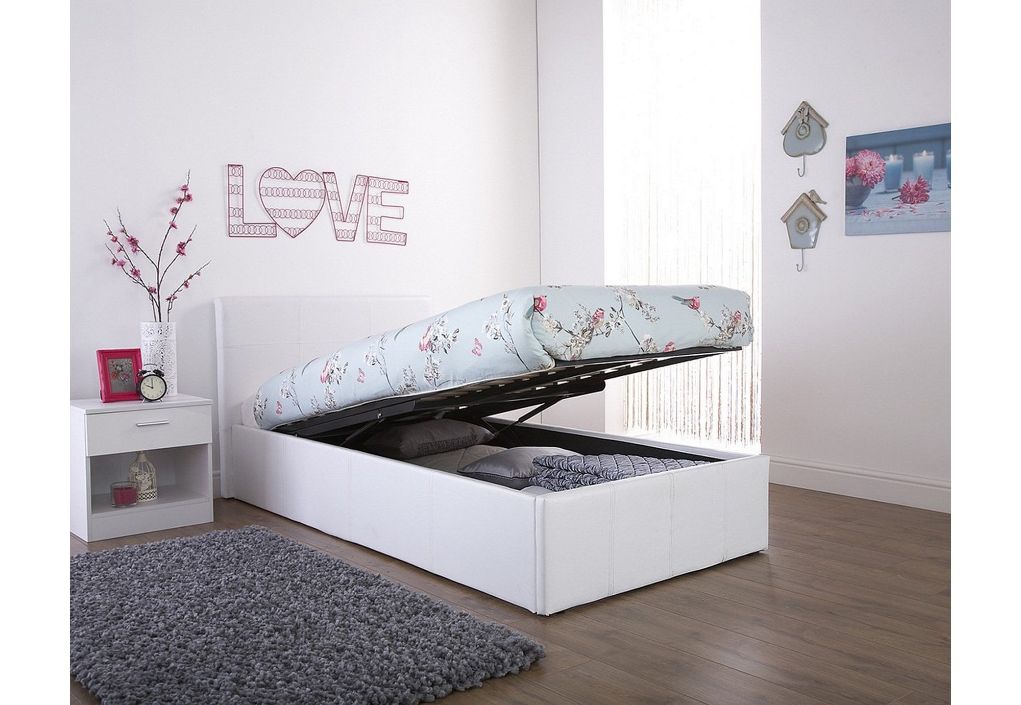 Picture of: Gfw Furniture End Lift Ottoman Single 90cm White Beds From Beds 4 Less Uk