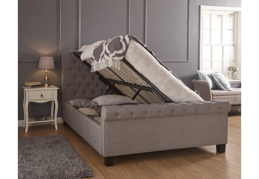 Gfw Furniture Layla Ottoman Bedstead King Size 150cm Silver