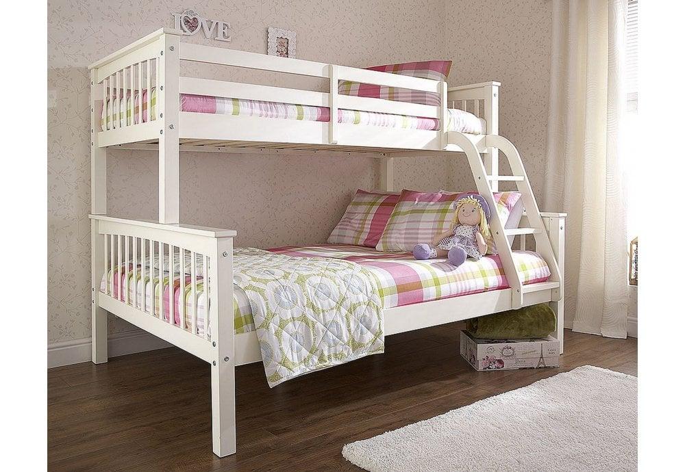 Gfw Furniture New Novaro Trio Bunk Bed 135cm White Bunk Beds