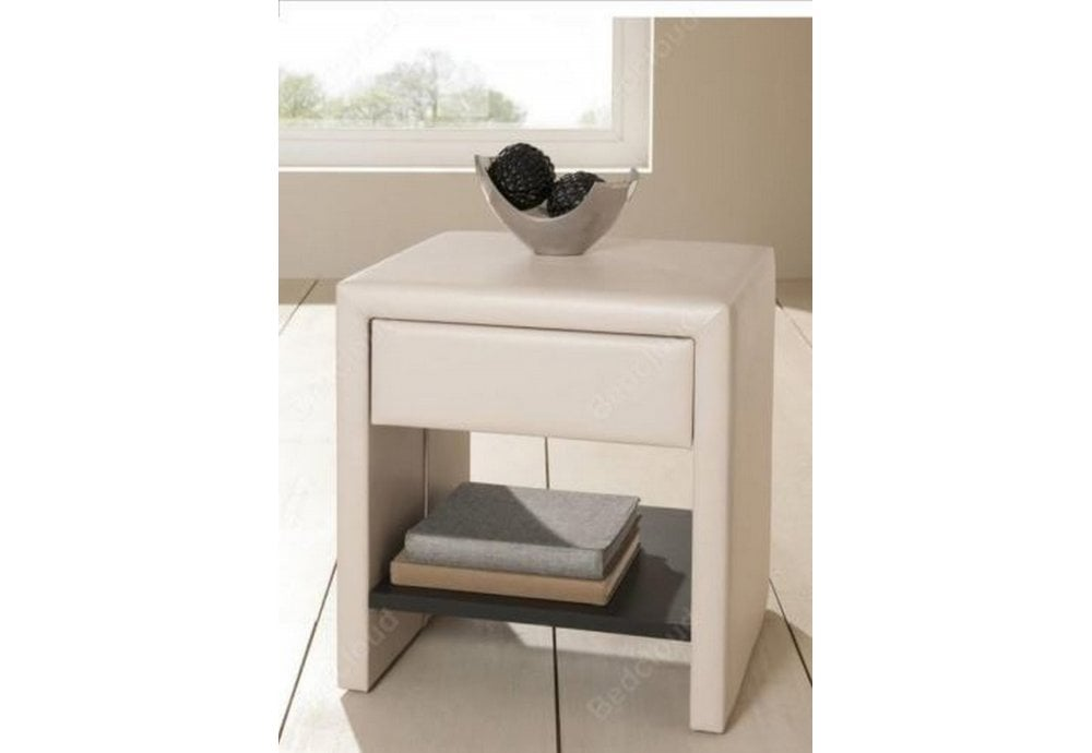 Modern Side Table Designs With Drawers.1 Drawer Ivory Faux Leather Modern Stylish Design Bedside Table