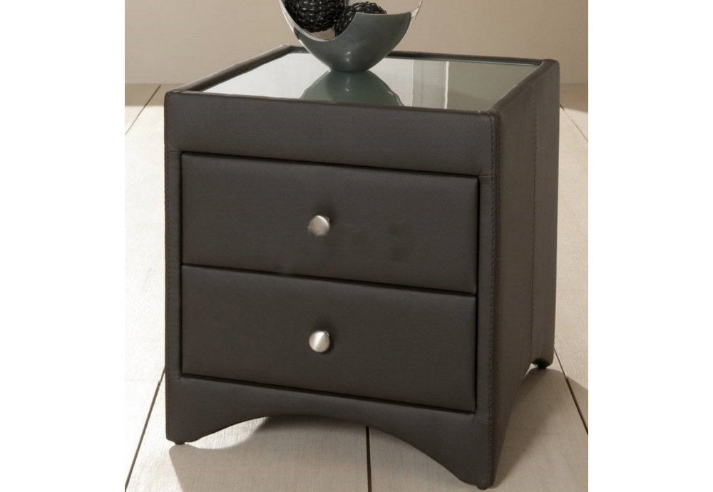 Modern Side Table Designs With Drawers.2 Drawer Brown Bycast Shiny Leather Bedside Table Modern Stylish Design