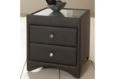 Kaydian 2 Drawer Brown Bycast Shiny Leather Bedside Table Modern Stylish Design