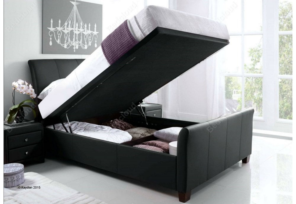 Outstanding Allendale 4Ft6 Double Black Leather Ottoman Storage Bed Reduced To Clear Gmtry Best Dining Table And Chair Ideas Images Gmtryco