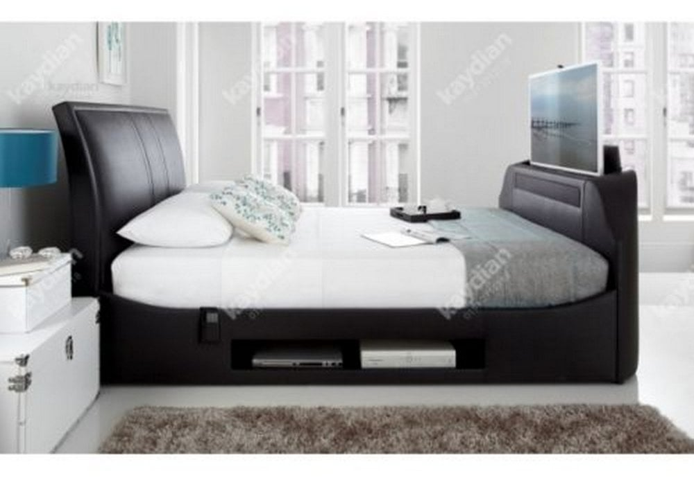 best sneakers 09681 6d419 Kaydian Kaydian Maximus 6FT Super King Size Black Leather Media TV Bed