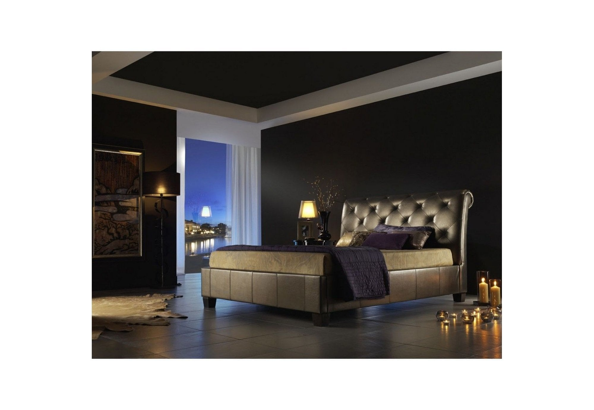 Kaydian Opera Gold King Size 5ft Leather Bed Frame Mattress Reduced To Clear Beds From Beds 4 Less Uk
