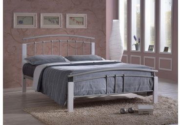 c3382246c298 Time Living 4FT Small Double Tetras White Metal Bed