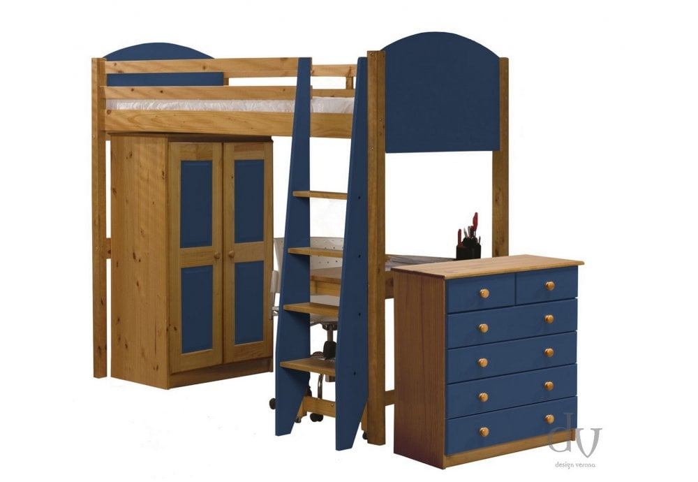 Verona Design Verona High Sleeper Bed Set 3 Antique With Blue Details
