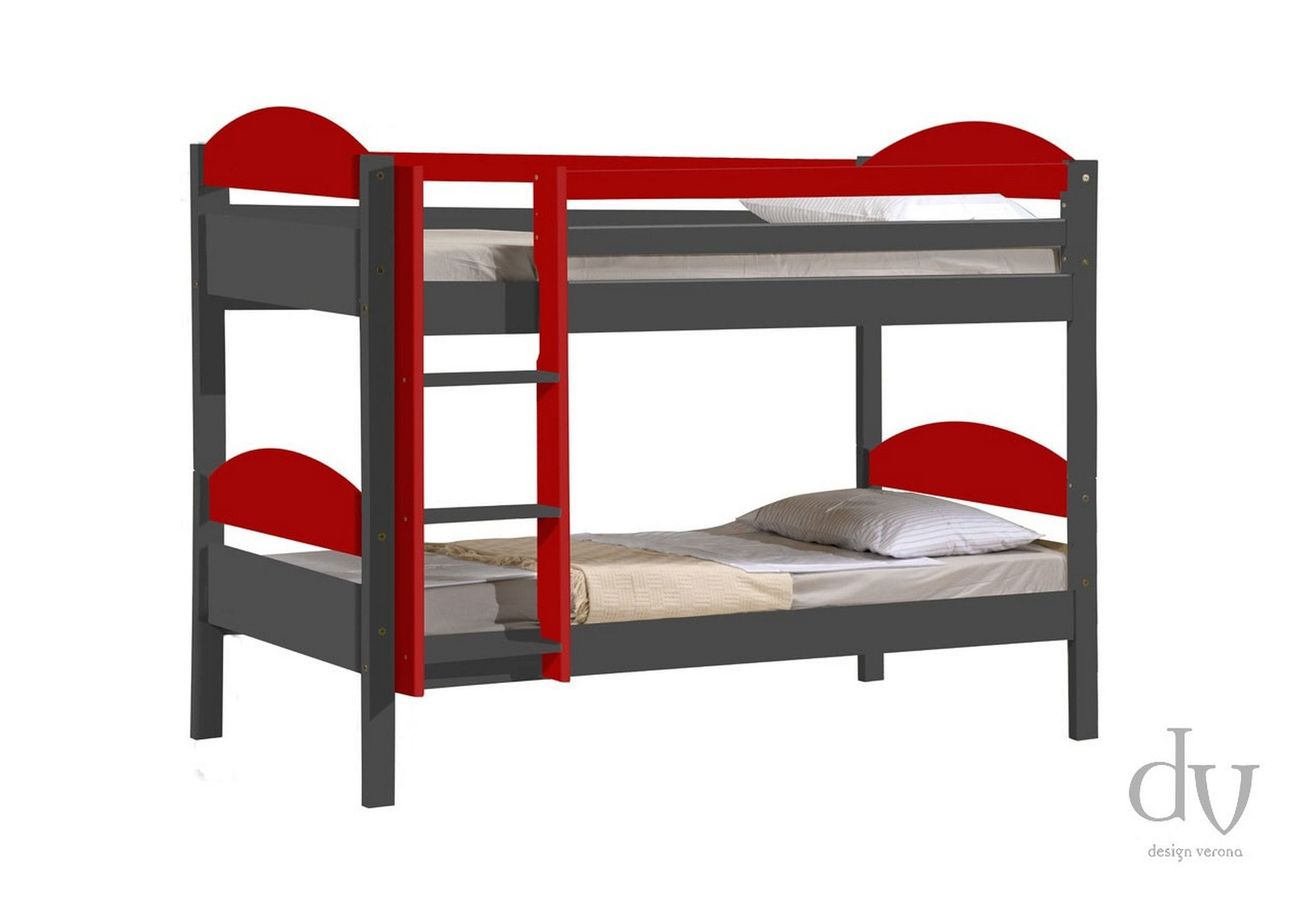 Picture of: Verona Design Verona Maximus Bunk Bed 3ft Graphite With Red Details Bunk Beds From Beds 4 Less Uk