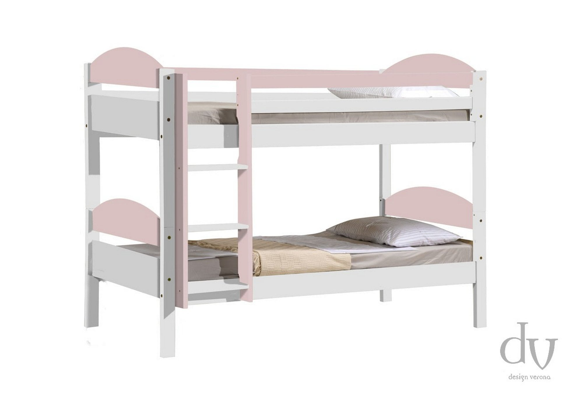 Picture of: Verona Design Verona Maximus Bunk Bed 3ft Whitewash With Pink Details Bunk Beds From Beds 4 Less Uk