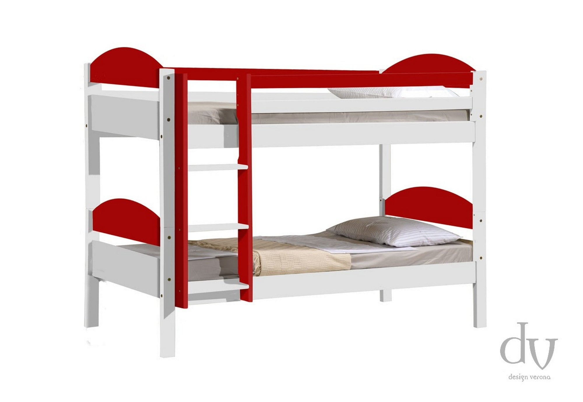 Picture of: Verona Design Verona Maximus Bunk Bed 3ft Whitewash With Red Details Bunk Beds From Beds 4 Less Uk